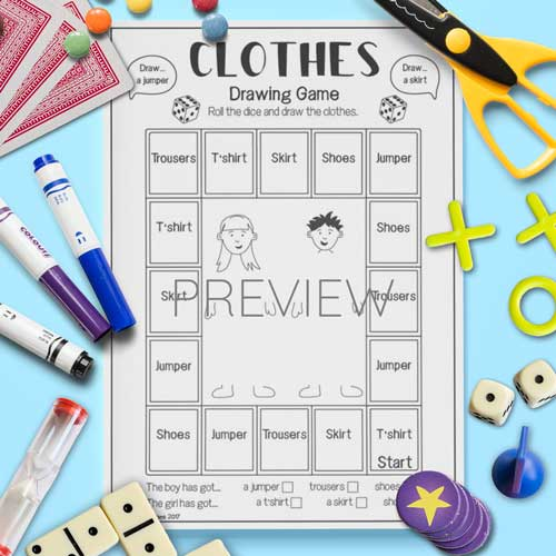 ESL English Clothes Drawing Game Activity Worksheet