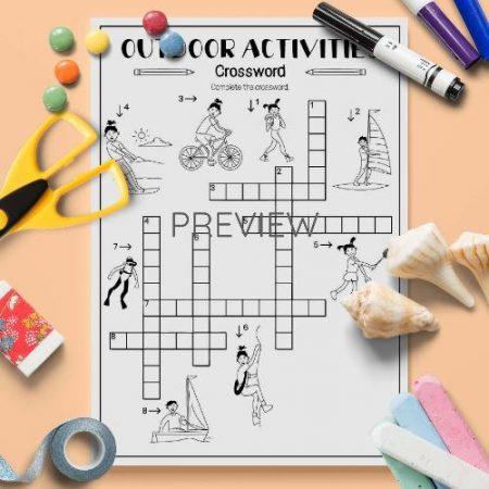 ESL English Outdoor Activities Crossword Activity Worksheet