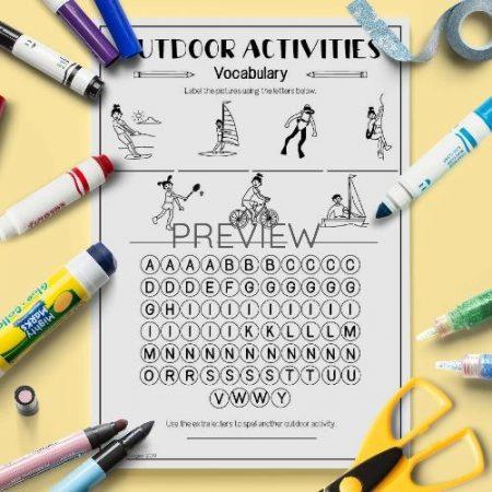 ESL English Outdoor Activities Letter Puzzle Activity Worksheet