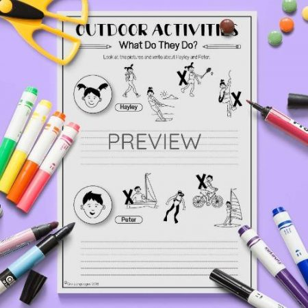 ESL English Outdoor Activities Writing Activity Worksheet