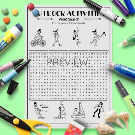 ESL English Outdoor Activities Word Search Activity Worksheet