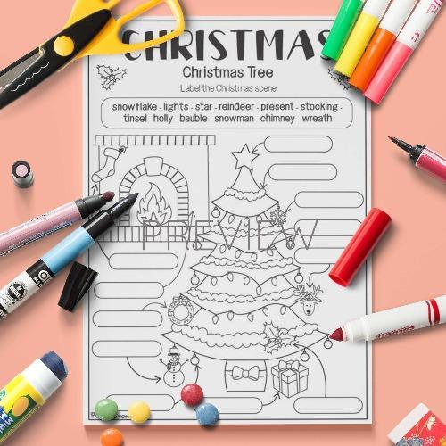ESL English Label Christmas Tree Activity Worksheet