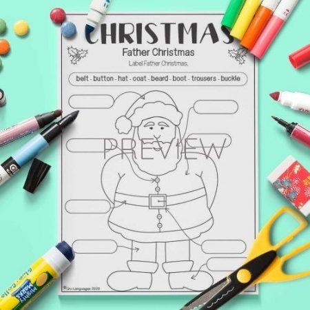 ESL English Label Father Christmas Activity Worksheet