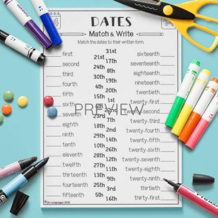 ESL English Dates Vocabulary Match Activity Worksheet