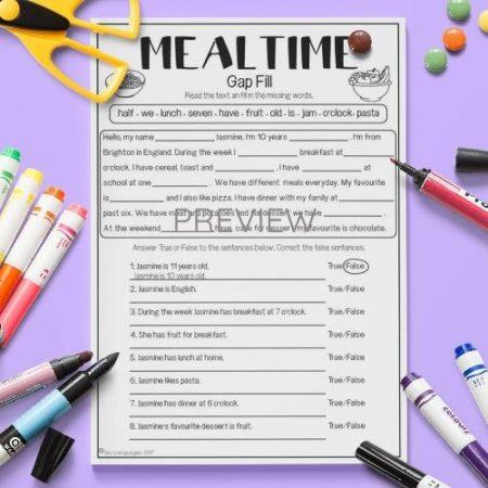 ESL English Mealtimes Gap Fill Activity Worksheet
