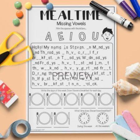 ESL English Mealtimes Missing Vowels Activity Worksheet
