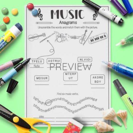 ESL English Music Anagrams Activity Worksheet