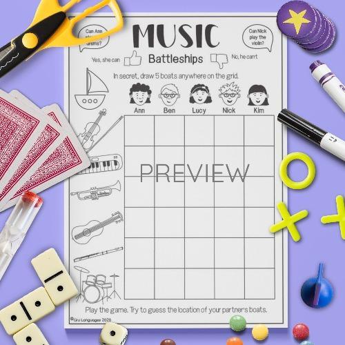 ESL English Music Battleships Game Activity Worksheet
