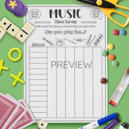 ESL English Music Class Survey Activity Worksheet