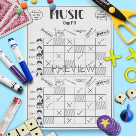 ESL English Music Gap Fill Activity Worksheet