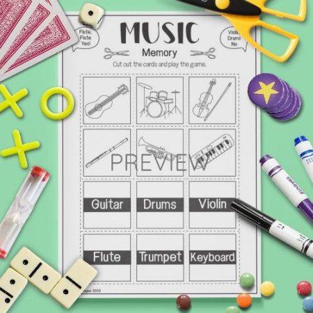 ESL English Music Memory Game Activity Worksheet