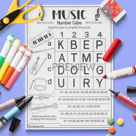 ESL English Music Number Cube Activity Worksheet