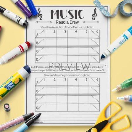 ESL English Music Read And Draw Activity Worksheet