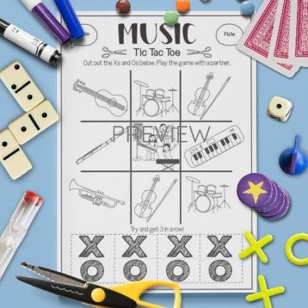 ESL English Music Tic Tac Toe Game Activity Worksheet