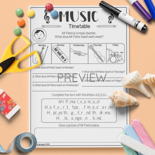 ESL English Music Timetable Activity Worksheet