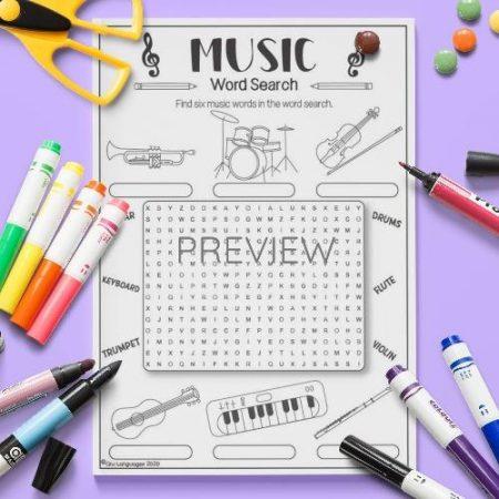ESL English Music Word Seach Activity Worksheet
