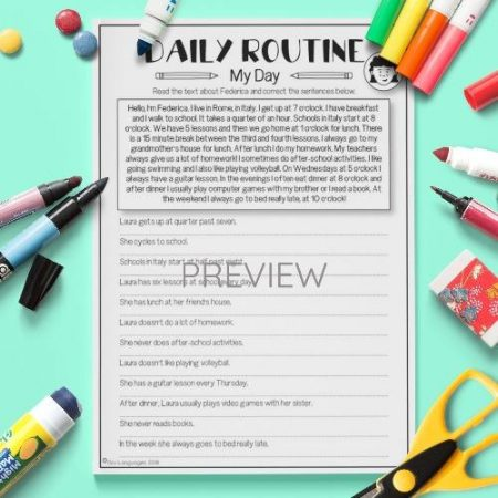 ESL English My Day Reading Activity Worksheet