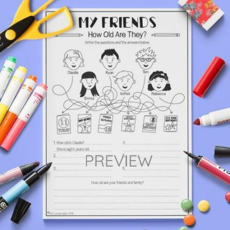 ESL English My Friends How Old Are They Activity Worksheet