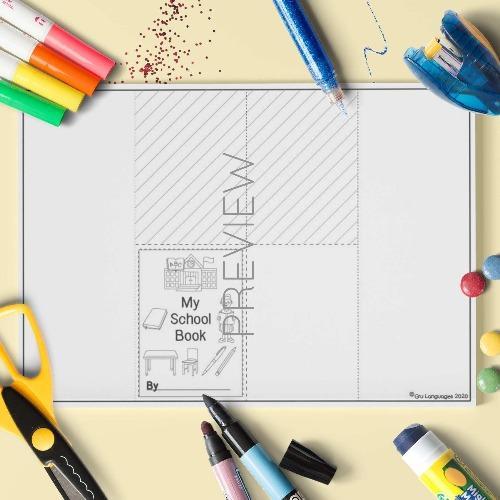 ESL English My School Book Craft Activity Worksheet