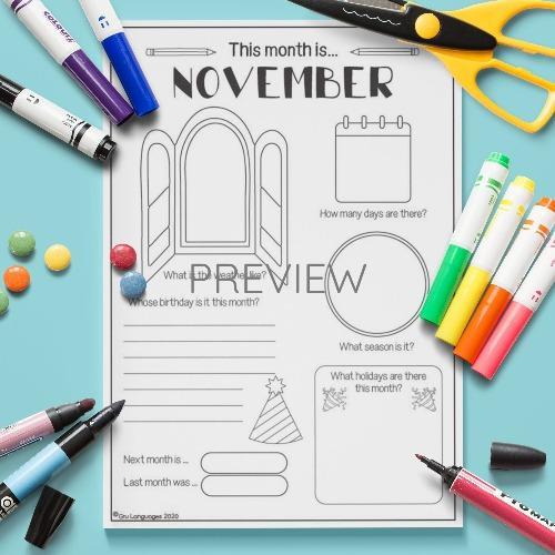 ESL English November Writing Activity Worksheet