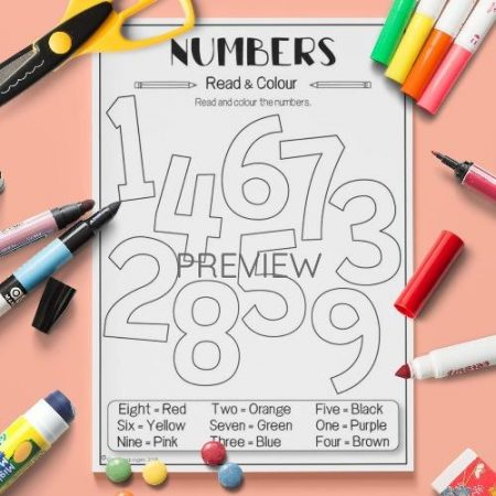 ESL English Numbers Read And Colour Activity Worksheet