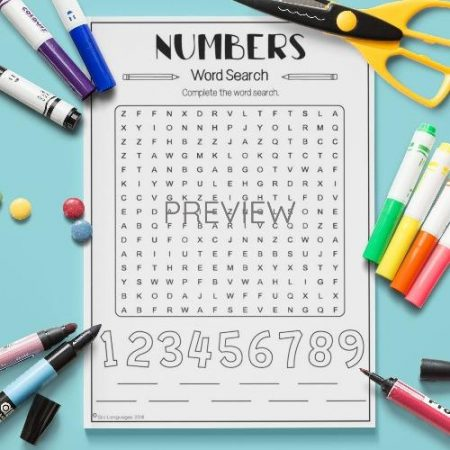ESL English Numbers Word Search Activity Worksheet