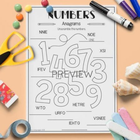 ESL English Numbers Anagrams Activity Worksheet