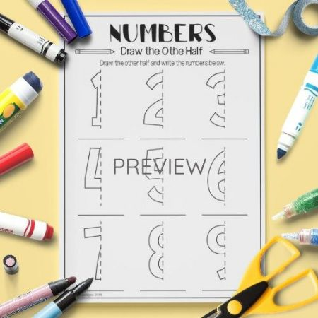 ESL English Numbers Draw The Other Half Activity Worksheet