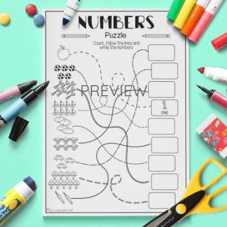 ESL English Numbers Line Puzzle Activity Worksheet