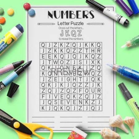 ESL English Numbers Letter Puzzle Activity Worksheet