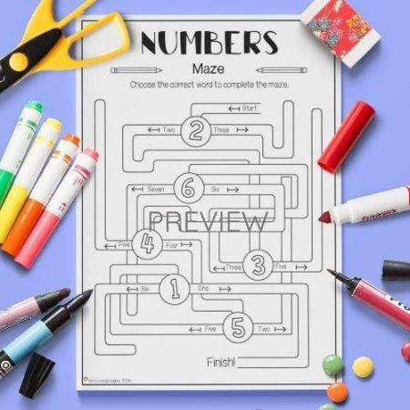 ESL English Numbers Maze Activity Worksheet
