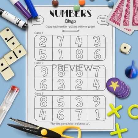 ESL English Numbers Bingo Game Activity Worksheet