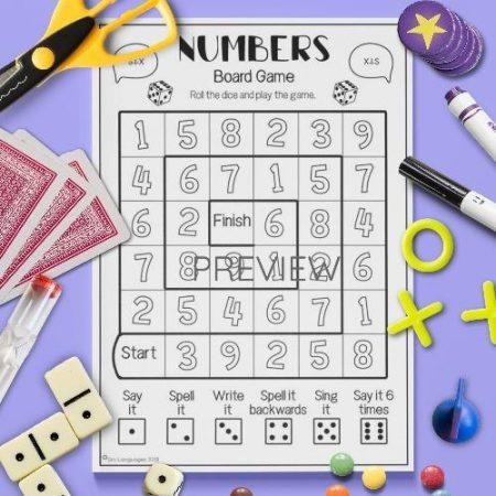 ESL English Numbers Board Game Activity Worksheet