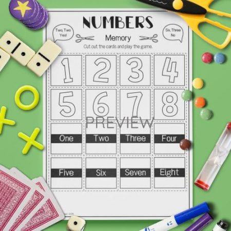 ESL English Numbers Memory Game Activity Worksheet