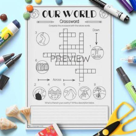 ESL English Our World Crossword Activity Worksheet