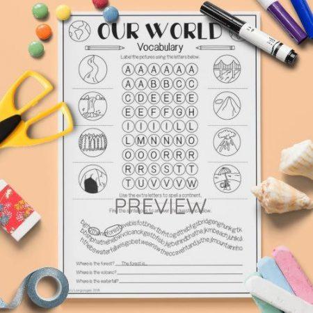 ESL English Our World Vocabulary Activity Worksheet