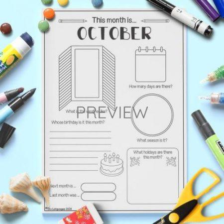 ESL English October Writing Activity Worksheet