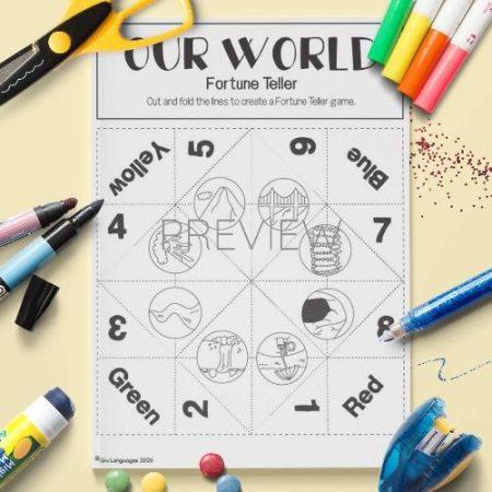 ESL English Our World Fortune Teller Craft Game Activity Worksheet