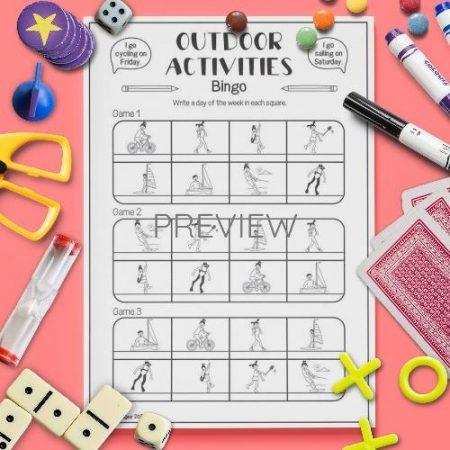 ESL English Outdoor Activities Bingo Game Activity Worksheet