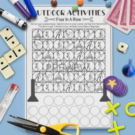 ESL English Outdoor Activities Four In A Row Game Activity Worksheet