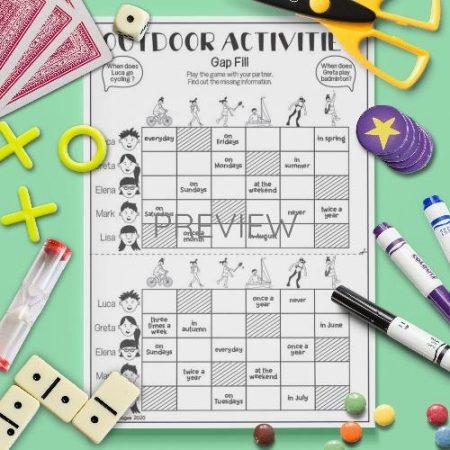 ESL English Outdoor Activities Gap Fill Game Activity Worksheet