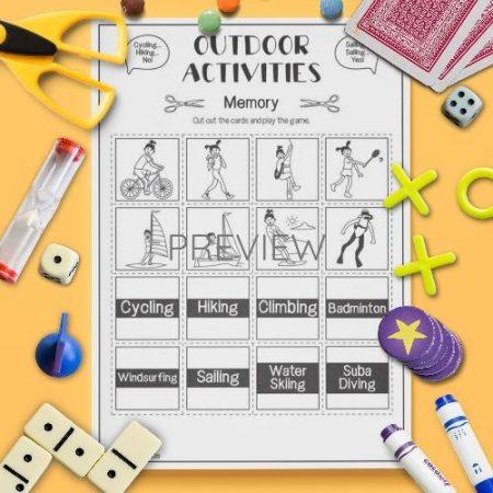 ESL English Outdoor Activities Memory Game Activity Worksheet