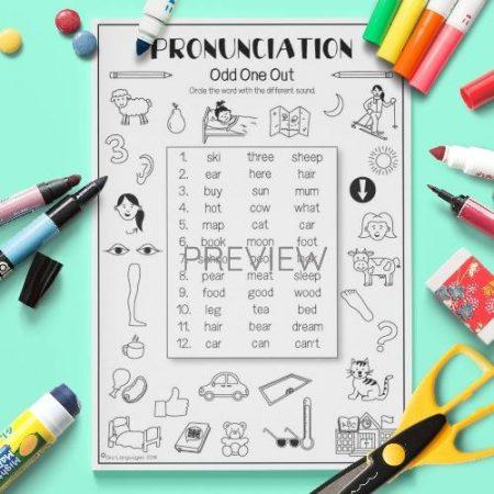 ESL English  Pronunciation Odd One Out Activity Worksheet