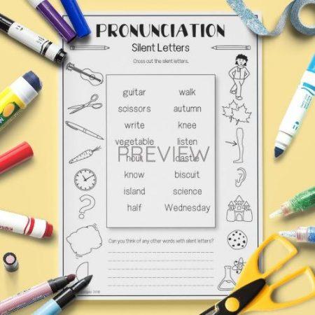 ESL English Pronunciation Silent Letters Activity Worksheet