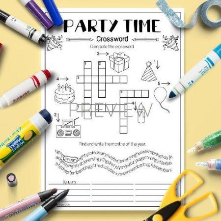 ESL English Party Time Crossword Activity Worksheet