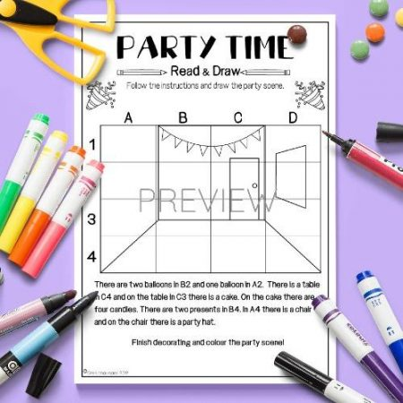 ESL English Party Time Read And Draw Activity Worksheet