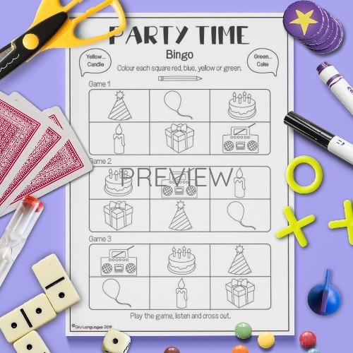 ESL English Party Time Bingo Game Activity Worksheet