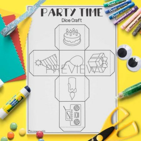ESL English Party Time Dice Craft Activity Worksheet