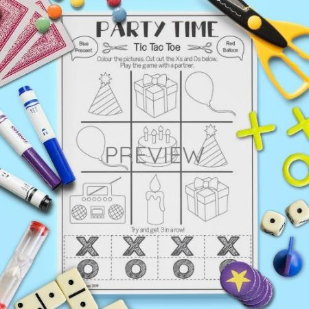 ESL English Party Time Tic Tac Toe Game Activity Worksheet