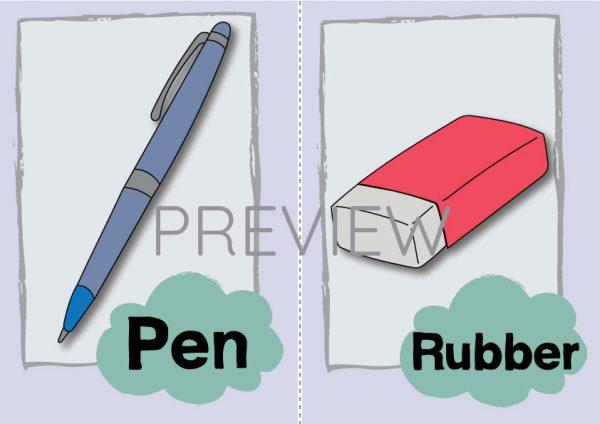 ESL English Pen Rubber Flashcard
